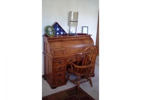 Solid Oak Double Pedestal Roll Top Desk